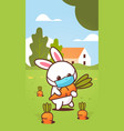 rabbit holding carrot wearing face mask to prevent vector image vector image