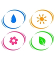 round icons with water drop sun flower and green vector image