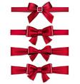 Satin red ribbons Gift bows vector image
