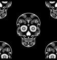 seamless pattern of white sugar skull vector image vector image