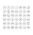 set black line icons in flat design vector image