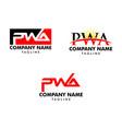 set initial letter pwa logo template design vector image vector image