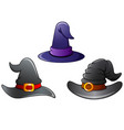 set of witch hat cartoon vector image