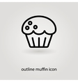 simple outline muffin icon vector image vector image