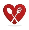 symbol healthy food heart spoon fork vector image