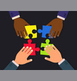 teamwork flat concept design businessmen hands vector image