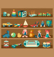 toys on shelves cartoon wooden rack with dolls vector image