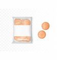 transparent plastic package with round crackers vector image