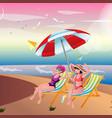 two girls sunbathing on the beach vector image vector image