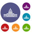 white house icons set vector image vector image