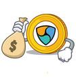 with money bag nem coin character cartoon vector image vector image