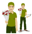 young man courier holding bouquet of flowers vector image