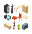 set of office isometric icons server rack table vector image