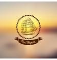 Ship emblem on light background vector image