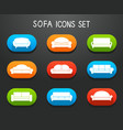 Sofas and Couches Furniture Icons Set vector image