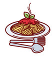 hot spaghetti with delicious bolognese sauce and vector image