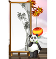a panda with bamboo-designed frame vector image