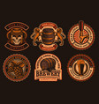 a set vintage beer emblems vector image
