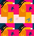 Abstract bright pink yellow and blue overlapping vector image
