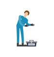 auto mechanic in uniform with tools icon vector image vector image