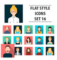 avatar set icons in flat style big collection vector image
