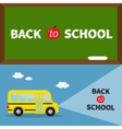 Back to school banner set Yellow school bus vector image