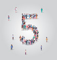 big people crowd forming number five 5 shape vector image vector image