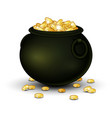 black pot full of gold coins vector image
