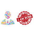boss collage of mosaic and grunge stamp for sales vector image