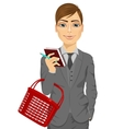 business man holding an empty shopping basket vector image