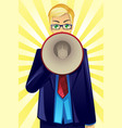 businessman holding megaphone vector image