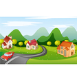 car running on road vector image vector image