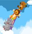 Cartoon Animals Sliding Down a Rainbow vector image
