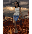 cartoon woman stands on the ruins vector image vector image