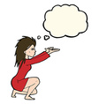 cartoon womn casting spel with thought bubble vector image vector image