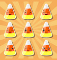 collection of cartoon candy corn smileys vector image