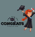 congrats class 2018 flat colorful poster happy vector image
