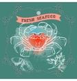 Crab silhouette lemon and words Fresh Seafood vector image