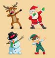 dabbing christmas characters set vector image vector image