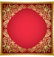 decorative red card with golden frame vector image vector image
