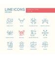Drones - line design icons set vector image vector image