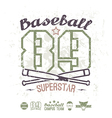 Emblem baseball superstar college team vector image vector image