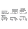 festival food truck icon set outline style vector image vector image