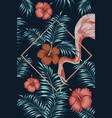 flamingo night tropical square hibiscus vector image