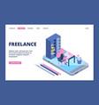 freelance landing online office concept vector image