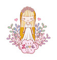 girl with weading dress and branches leaves vector image vector image