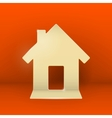 Gold cardboard home on red background vector image