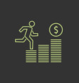 growing business runing man graph icon vector image vector image