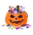 halloween pumpkin with candies cartoon sweets vector image