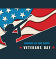 happy veterans day greeting card with usa flag vector image vector image